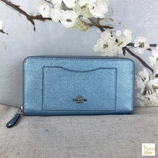COACH Blue Metallic Leather Zip Wallet
