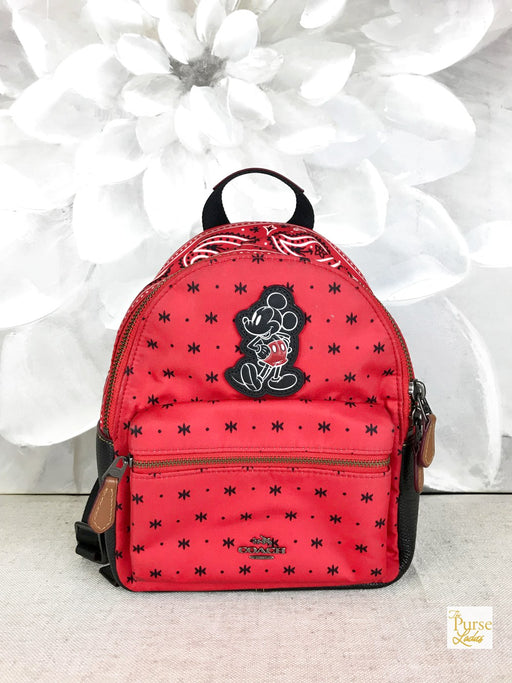 COACH Red Bandana Nylon Mini Charlie Cartoon Mouse Backpack