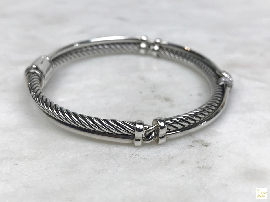 DAVID YURMAN Silver Petite X Crossover Bracelet w/ Diamonds