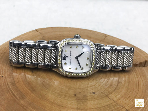 DAVID YURMAN Silver Stainless Steel Diamond Thoroughbred Watch