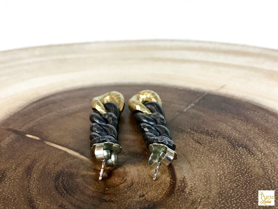$1350 DAVID YURMAN 925 Sterling Silver Curb Link Earrings 750 Gold