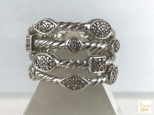 DAVID YURMAN 925 Sterling Silver Diamond Confetti Ring SZ 5