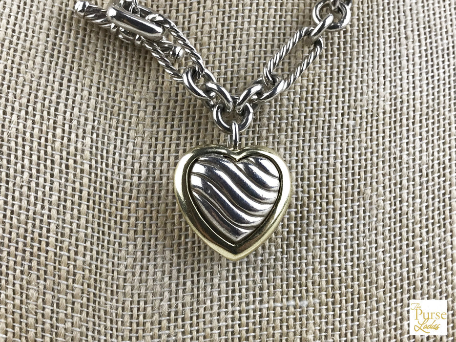DAVID YURMAN 925 Sterling Silver Figaro Heart Necklace