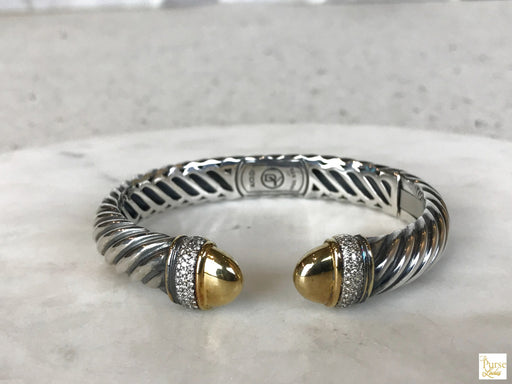 DAVID YURMAN 925 Sterling Silver Sculpted Diamond Cuff