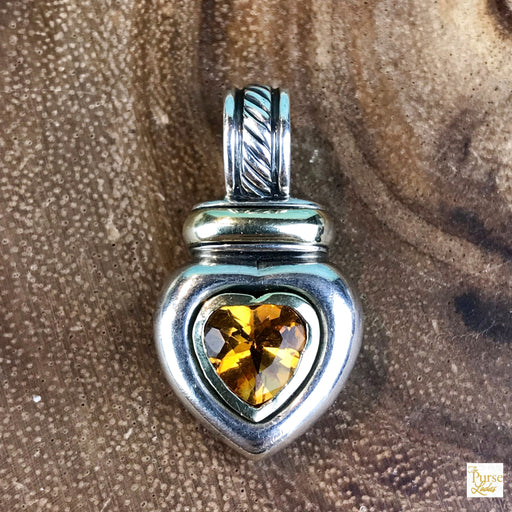 David Yurman Sterling Silver Citrine Heart Pendant