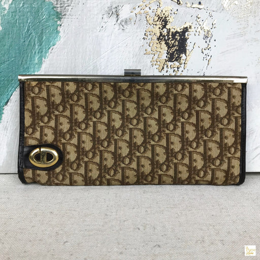 CHRISTIAN DIOR Brown Trotter Canvas Vintage Clutch