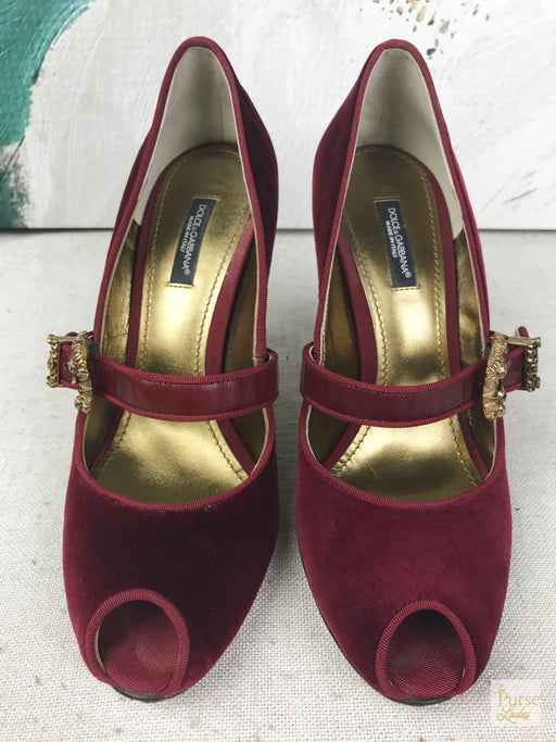 DOLCE & GABBANA Mary Jane Red Velvet Peep Toe Pumps Sz 37 Heels