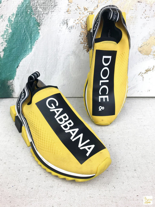 DOLCE & GABBANA Yellow Jersey Logo Sorrento Men's Sneakers