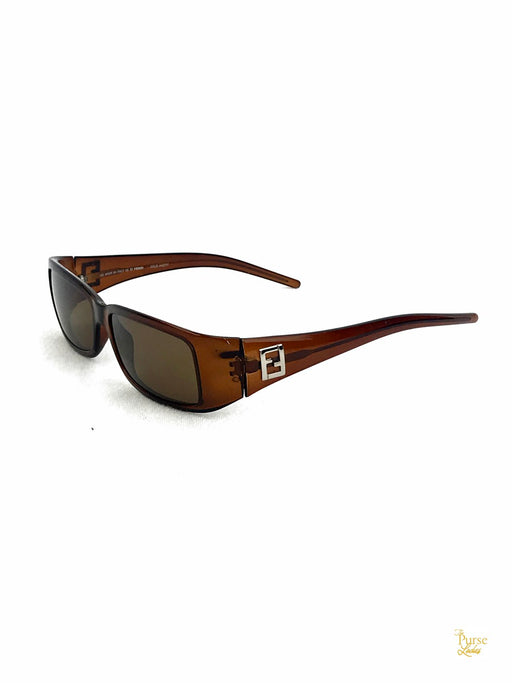 FENDI FS333 Brown Transparent Acetate Rectangle Sunglasses