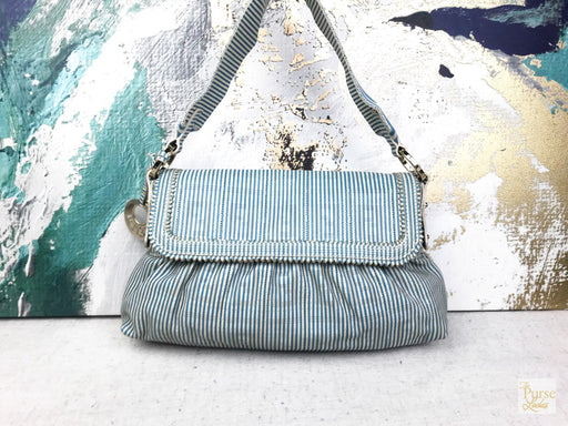 FENDI Blue & White Striped Perforated Leather Chef Baguette