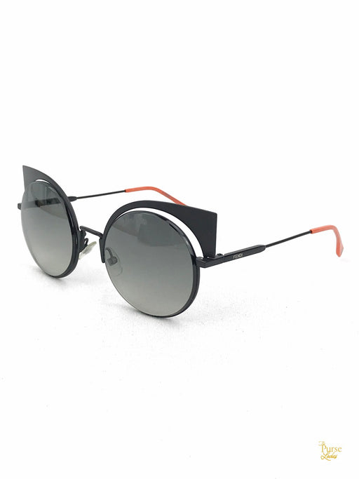FENDI FF 0177/S Black Round Sunglasses