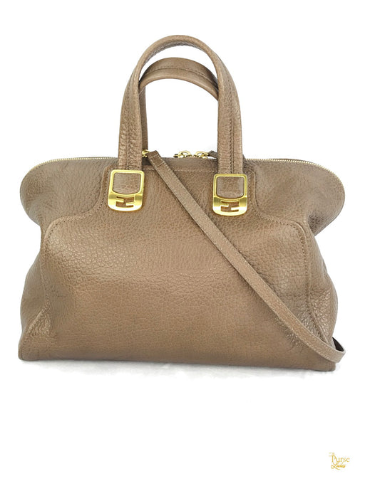 FENDI Taupe Brown Leather Chameleon Convertible Satchel