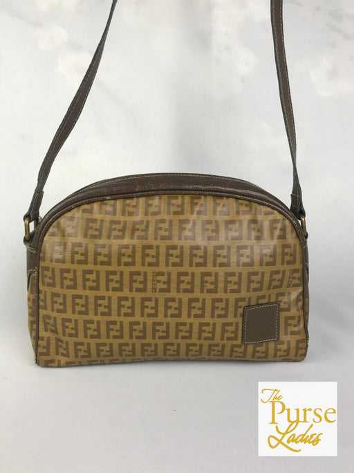 FENDI Brown Zucchino Coated Canvas Vintage Crossbody