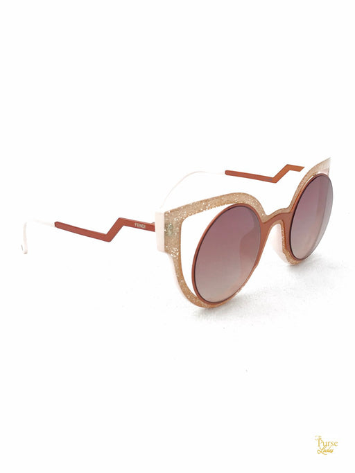 FENDI FF 0137/S Pink Cat Eye Frame Round Sunglasses