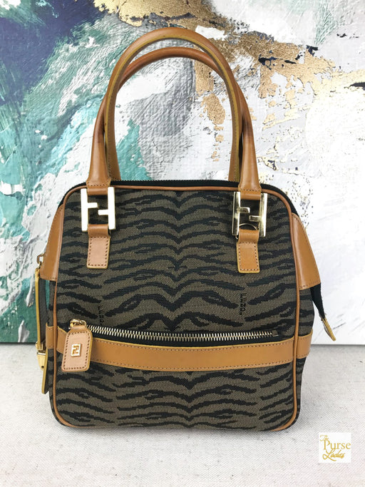 FENDI Brown Zebra Canvas Satchel Bag