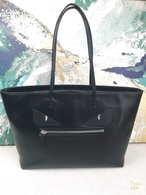 FENDI Black Leather Monster Eyes Roll Tote