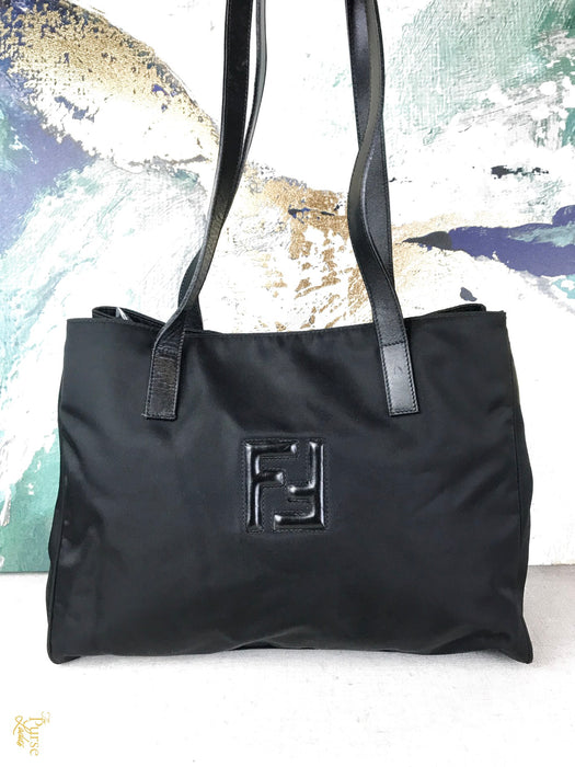 FENDI Black Nylon Tote Shoulder Bag