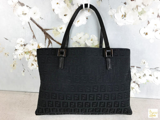 FENDI Black Zucchino Tote Bag