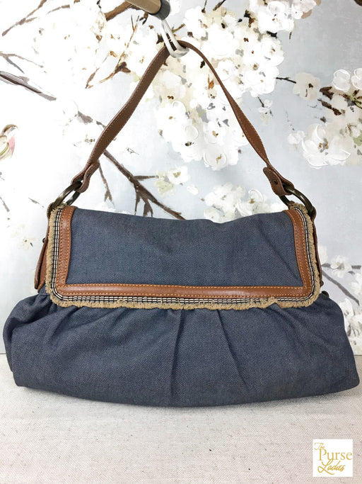 FENDI Denim Flap Hobo Bag