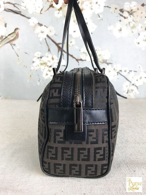 FENDI Brown Zucchino Canvas Satchel