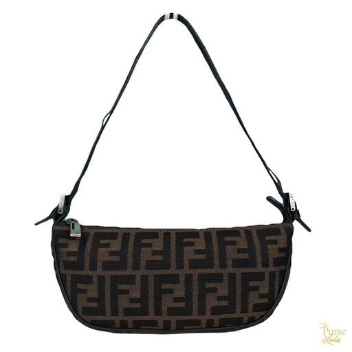 5c9ca16163d6  695 FENDI Tobacco Brown Zucca FF Logo Canvas Small Baguette Shoulder Bag  SALE!