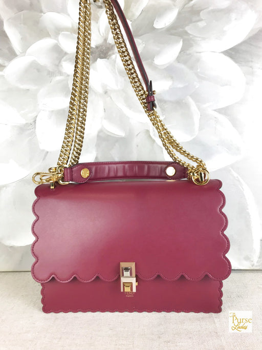 FENDI Pink Leather Kan I Medium Flap Shoulder Bag