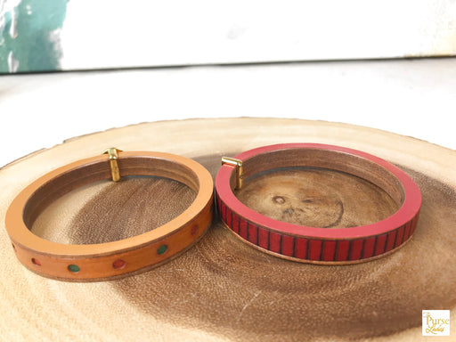 FENDI Red & Brown Leather Bangle Bracelets Set