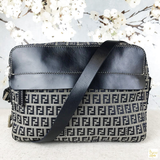 FENDI Navy Blue Zucchino Shoulder Bag