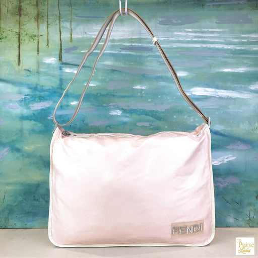 FENDI Light Pink Nylon Square Zucca Messenger Crossbody Bag