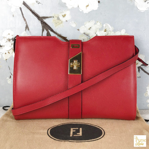 Fendi Red Lizard Skin Leather Shoulder Bag