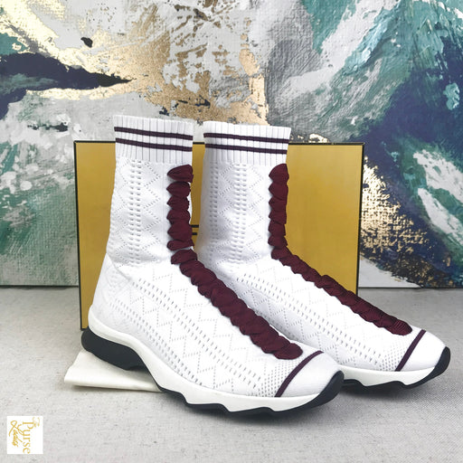 FENDI White High Top Sock Women's Sneakers Sz 37 Shoes