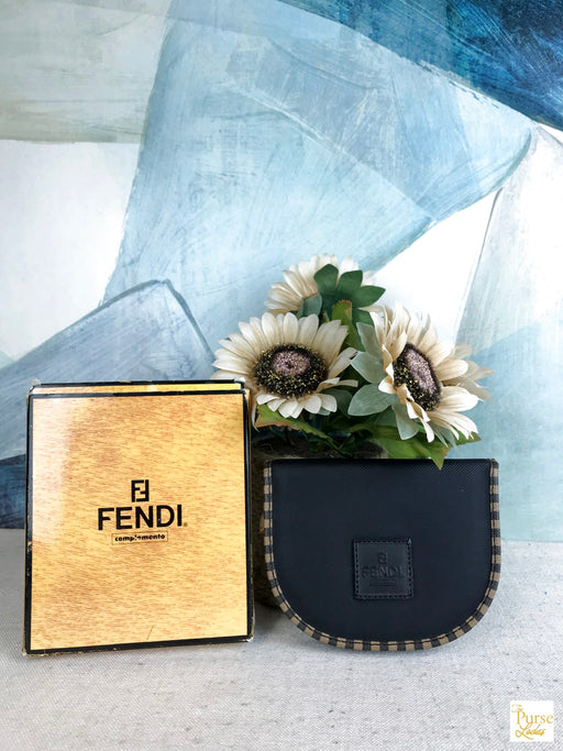 $490 FENDI Black Pequin Stripe Trim Canvas Manicure Kit Vintage