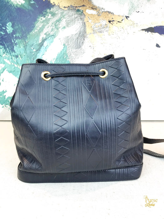 FENDI Navy Blue Geometric Leather Bucket Crossbody Bag