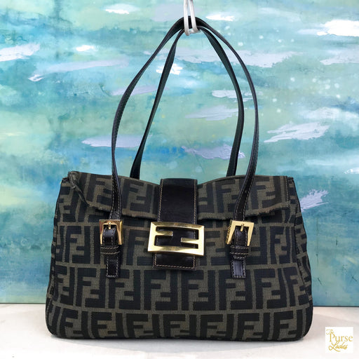 e2e9d1af4150  995 FENDI Tobacco Brown Zucca FF Logo Canvas Flap Shoulder Bag