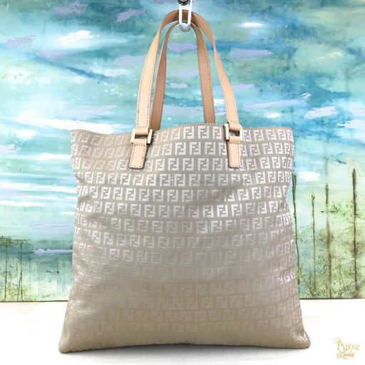FENDI Tan Light Brown Canvas Zucchino Vintage Large Tote