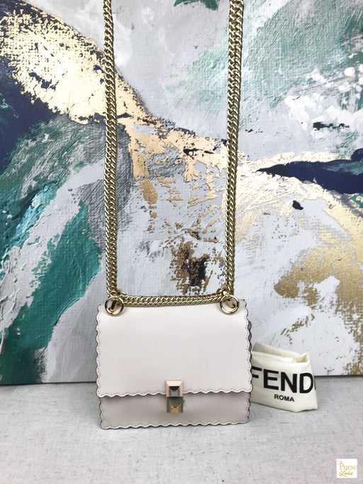 FENDI Ivory/Beige Leather Kan I Scalloped Flap Crossbody