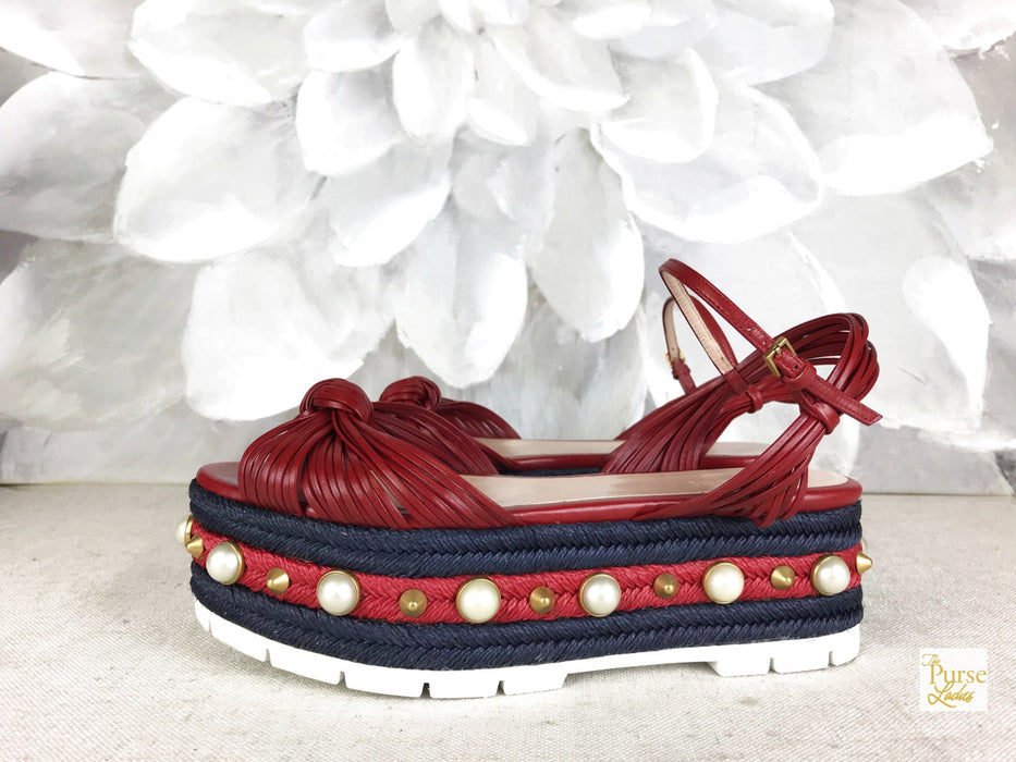GUCCI Barbette Pearl Red Leather Espadrille Sandals Sz 37.5 Platform