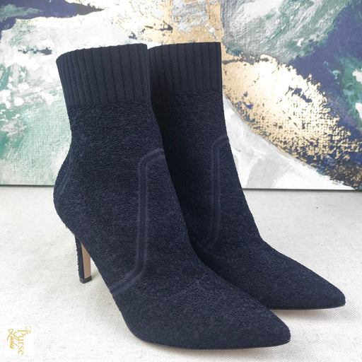 GIANVITO ROSSI Blue Boucle Katie Knitted Sock Booties SZ 37