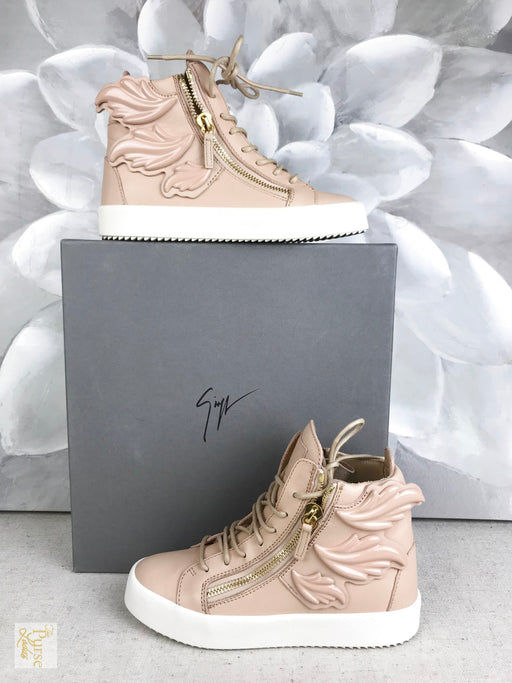 GIUSEPPE ZANOTTI Cruel Wing London Nude Pink High Top Sz 37 Sneakers