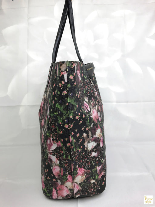 GIVENCHY Black Coated Canvas Floral Leather Antigona Tote