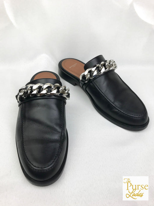 GIVENCHY Black Leather Chain Slipper Mules