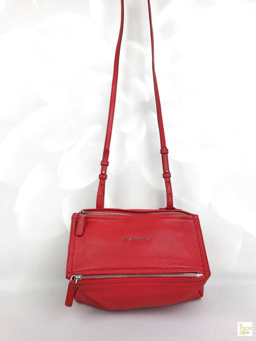 GIVENCHY Red Leather Pandora Crossbody