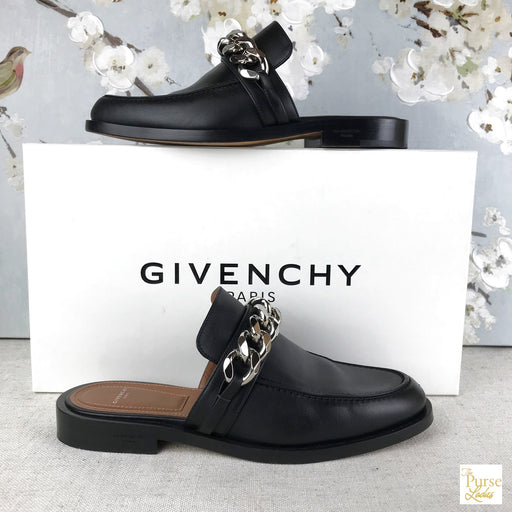 GIVENCHY Black Leather Chain Mules Sz 38 Flats