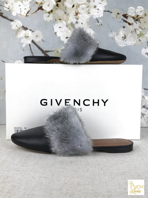 GIVENCHY Bedford Black Mink Mules Sz 38