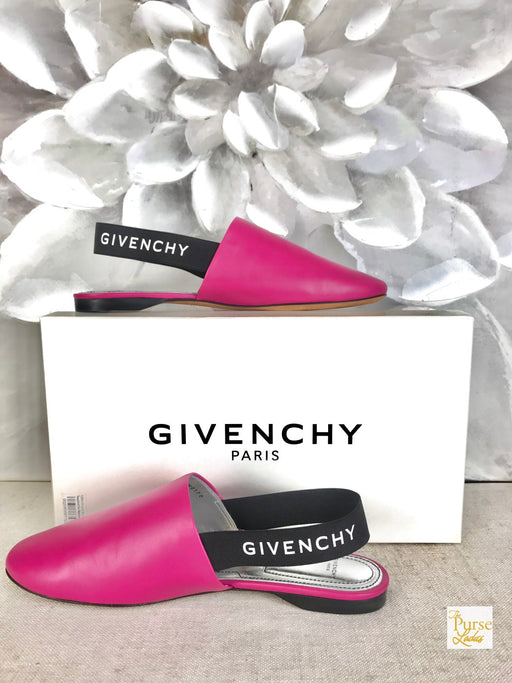 GIVENCHY Rivington Pink Leather Mules Sz 38 Flats Women's
