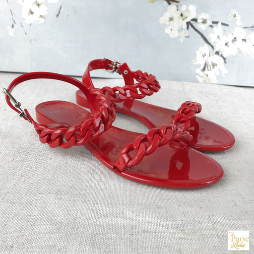 GIVENCHY Red Rubber Nea Chain Link Jelly Sandals SZ 38
