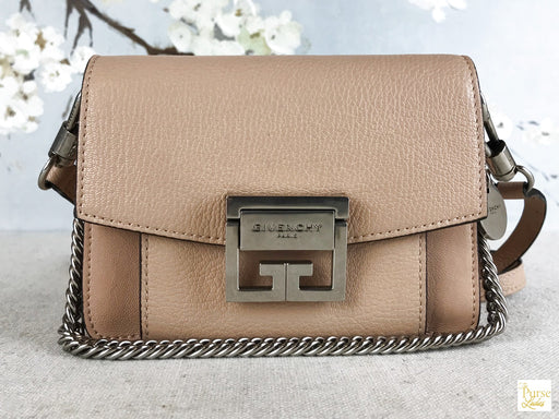 GIVENCHY Beige Leather GV3 Mini Crossbody