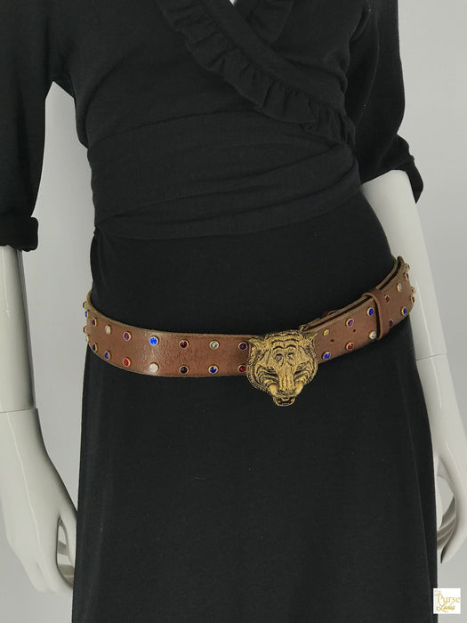 GUCCI Brown Leather Studded Animalier Belt SZ 90/36