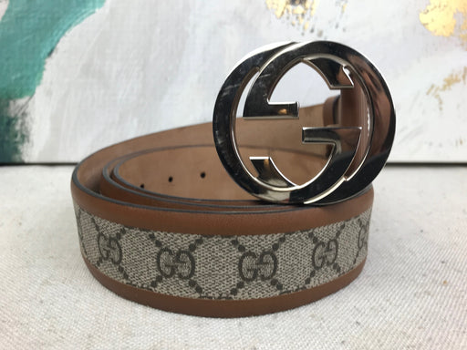 GUCCI Beige GG Web Supreme Canvas Men's Belt SZ 115/46