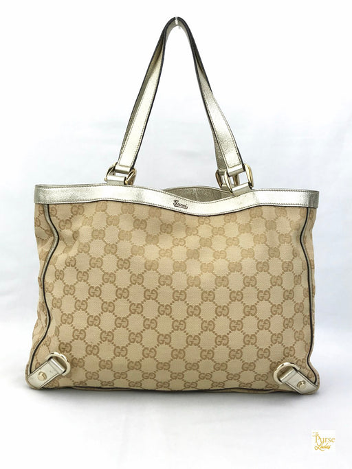 GUCCI Beige GG Web Canvas D-Ring Tote